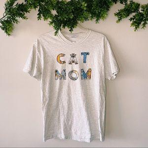 Vintage Cat Mom Grey Graphic Tee sz M